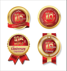 Golden badge anniversary collection 105 years vector