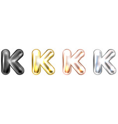 Golden foil balloon inflated alphabet symbol k vector