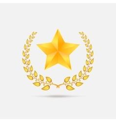 Golden laurel wreath with star vector