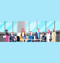 Group of happy smiling arabic business people vector