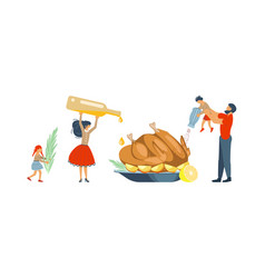 happy family cooking together a turkey vector image