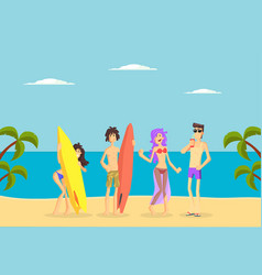 happy people standing with surfboards on tropical vector image