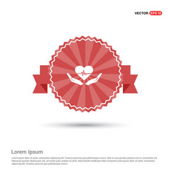 heart in hand icon - red ribbon banner vector image