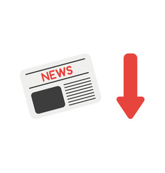 icon concept of newspaper with arrow moving down vector image