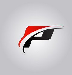 Initial p letter logo with swoosh colored red and vector