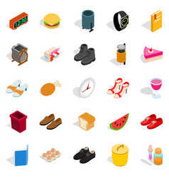 Inside the house icons set isometric style vector