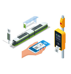 isometric electronic validator public transport vector image