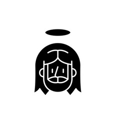jesus black icon sign on isolated vector image