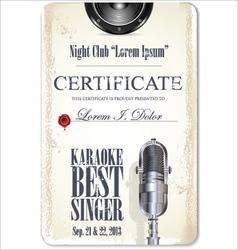 Karaoke certificate template best singer vector
