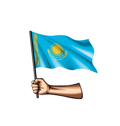 Kazakhstan flag and hand on white background vector