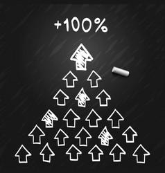leader pyramid arrows sketch vector image