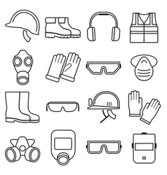 Linear job safety equipment icons set vector