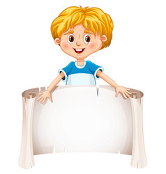 Little boy holding a blank sheet vector