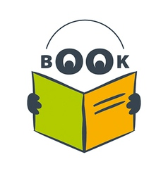 logo character with headphones reading a book vector image