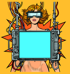 medical research cyberpunk naked woman virtual vector image