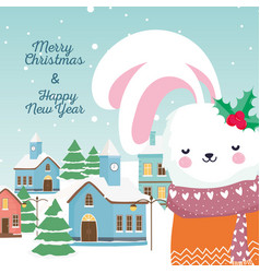 merry christmas happy new year 2020 cute rabbit vector image