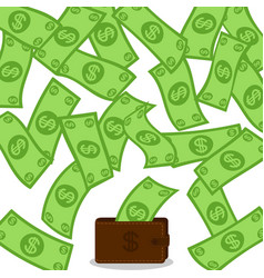 money flow falling to wallet from above profit vector image