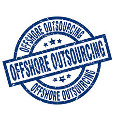 Offshore outsourcing blue round grunge stamp vector