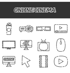 Online cinema flat icons set vector