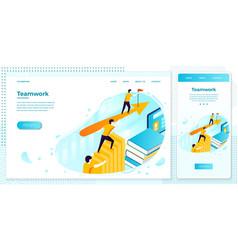 Online teamwork business boost web set vector