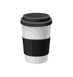 paper coffee cup with black plastic lid take away vector image