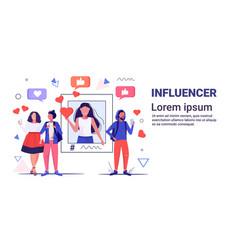 people using online mobile app social media vector image