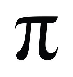 Pi sign black isolated on white back vector