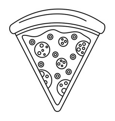 pizza slice icon outline style vector image