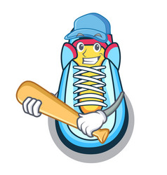 playing baseball classic sneaker character style vector image