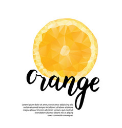 Polygonal poster with orange template for vector