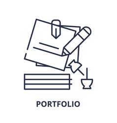 portfolio line icon concept portfolio vector image