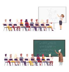 professors giving task explaining seminar vector image