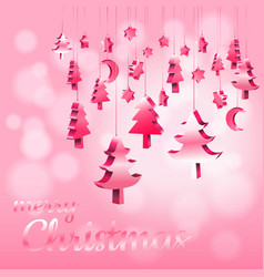 Red pink pastel christmas ornaments hanging rope vector