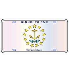 Rhode island flag license plate vector