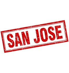 San Jose red square grunge stamp on white vector