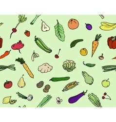 Seamless pattern Fruits and vegetables Sketch set vector image
