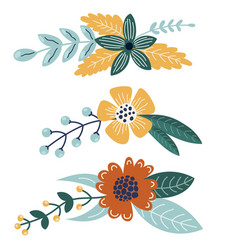 set bright bouquets for your design vector image