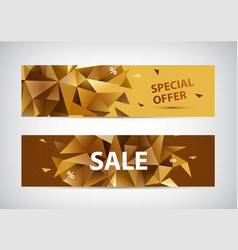 Set faceted 3d shape sale banners use vector