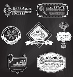 Set of chalk badges labels logo templates and vector