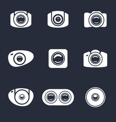 Set of light icon photo camera and mobile lens vector