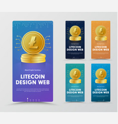 Set of vertical web banners with a gold coin of vector