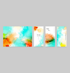 Set watercolor card layouts and poster vector