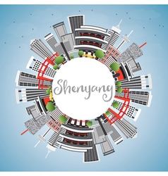 Shenyang Skyline with Gray Buildings vector