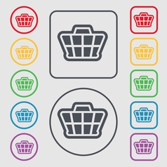 Shopping Cart icon sign symbol on the Round and vector image