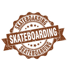 Skateboarding stamp sign seal vector
