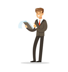smiling businessman standing and holding notepad vector image