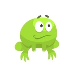 Smiling Hopeful Big-Eyed Green Frog Funny vector