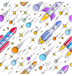 space seamless background with rockets stars and vector image
