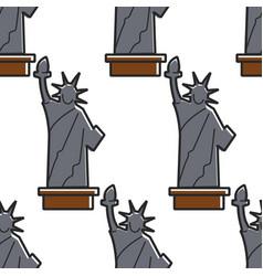 statue liberty usa symbol seamless pattern vector image