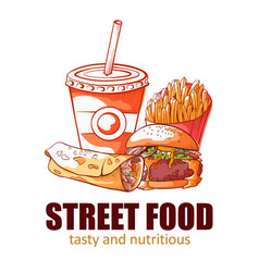 Street food banner tasty and nutritious logo vector